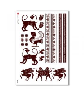 FOLK-0047. Carta di riso etniche per decoupage.