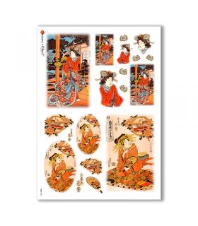 FOLK-0052. Carta di riso etniche per decoupage.