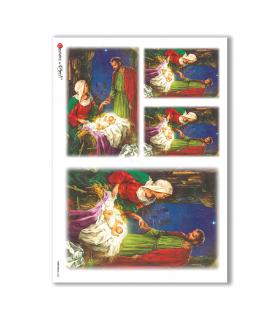 CHRISTMAS-0042. Carta di riso Natale per decoupage.