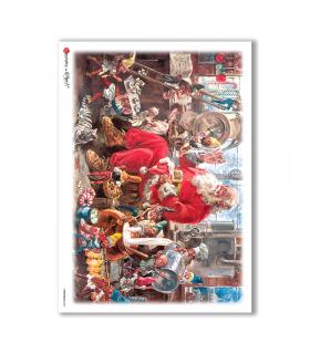 CHRISTMAS-0050. Carta di riso Natale per decoupage.