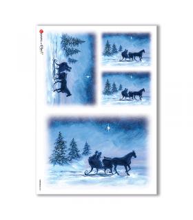 CHRISTMAS-0060. Carta di riso Natale per decoupage.