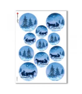 CHRISTMAS-0061. Carta di riso Natale per decoupage.