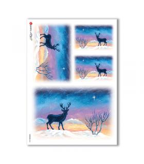 CHRISTMAS-0063. Carta di riso Natale per decoupage.