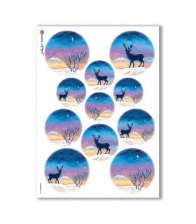 CHRISTMAS-0064. Carta di riso Natale per decoupage.
