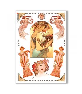 NOUVEAU-0002. Carta di riso art nouveau per decoupage.