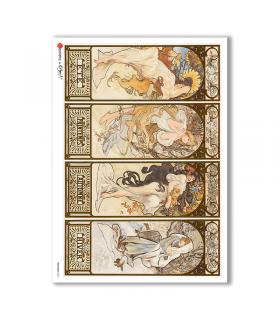 NOUVEAU-0005. Carta di riso art nouveau per decoupage.