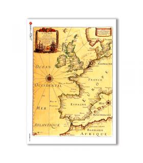 OLD-MAPS-0005. Carta di riso mappe antiche per decoupage.