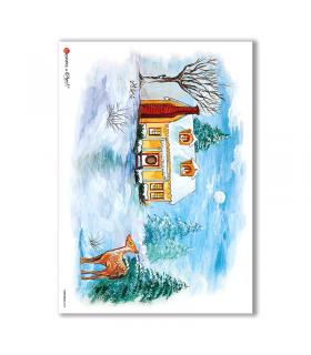 CHRISTMAS-0068. Carta di riso Natale per decoupage.