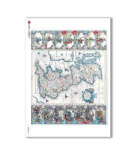 OLD-MAPS-0017. Carta di riso mappe antiche per decoupage.