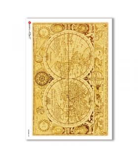 OLD-MAPS-0021. Carta di riso mappe antiche per decoupage.