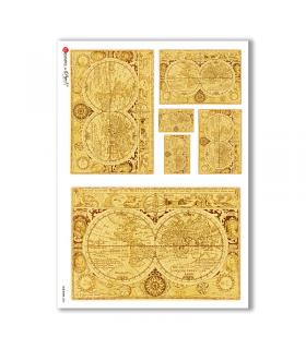 OLD-MAPS-0022. Carta di riso mappe antiche per decoupage.