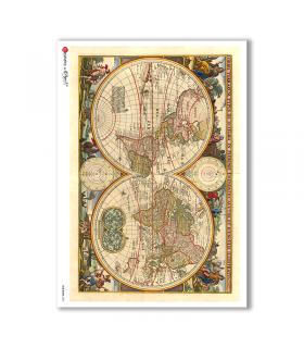 OLD-MAPS-0026. Carta di riso mappe antiche per decoupage.
