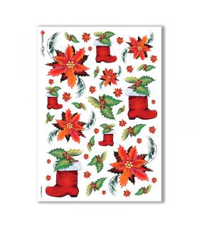 CHRISTMAS-0074. Carta di riso Natale per decoupage.