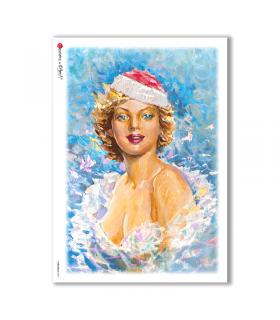 CHRISTMAS-0075. Carta di riso Natale per decoupage.
