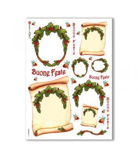 CHRISTMAS-0077. Carta di riso Natale per decoupage.