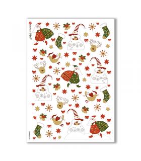CHRISTMAS-0084. Carta di riso Natale per decoupage.