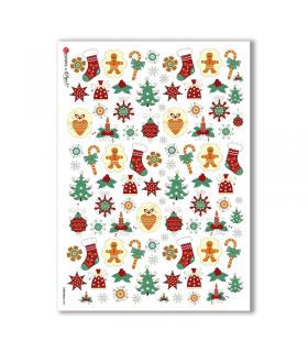 CHRISTMAS-0085. Carta di riso Natale per decoupage.