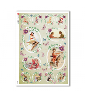 PINUP-0016. Pin-Up Rice Paper for decoupage.