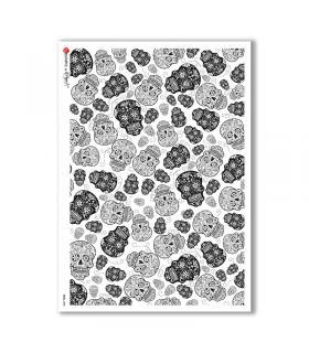 SKULL-0003. Skull Rice Paper for decoupage.