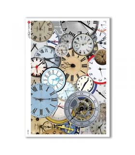 TIME-0005. Carta di riso orologi per decoupage.
