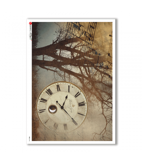 TIME-0006. Papel de Arroz relojes para decoupage.
