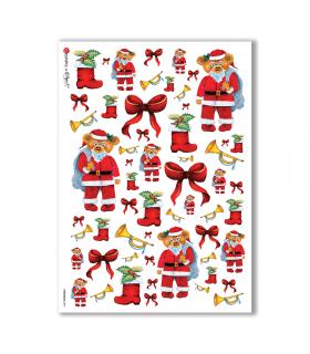 CHRISTMAS-0096. Carta di riso Natale per decoupage.