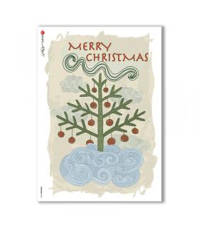 CHRISTMAS-0099. Carta di riso Natale per decoupage.