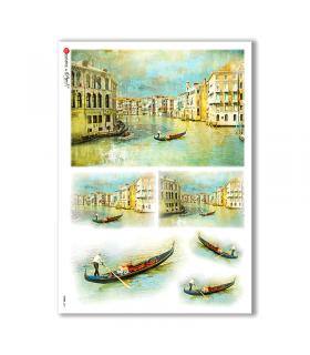 VIEWS-0011. Carta di riso paesaggi per decoupage.