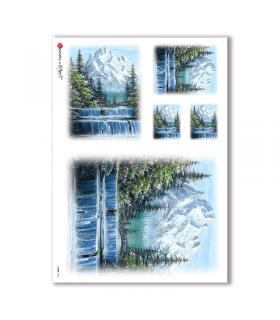 VIEWS-0024. Carta di riso paesaggi per decoupage.