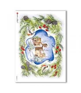 CHRISTMAS-0104. Carta di riso Natale per decoupage.