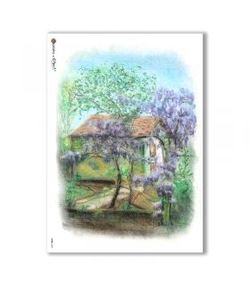VIEWS-0039. Carta di Riso paesaggi per decoupage