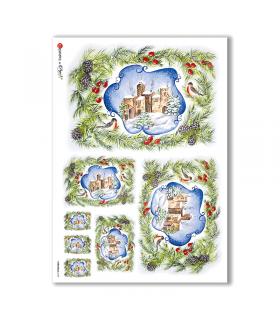 CHRISTMAS-0105. Carta di riso Natale per decoupage.