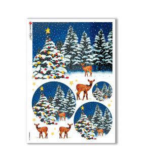 CHRISTMAS-0109. Carta di riso Natale per decoupage.