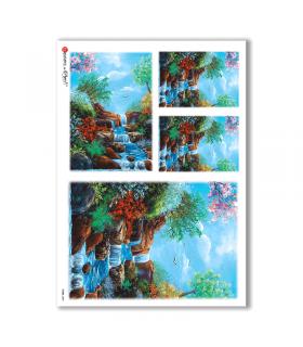 VIEWS-0089. Carta di Riso paesaggi per decoupage