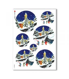 CHRISTMAS-0111. Carta di riso Natale per decoupage.