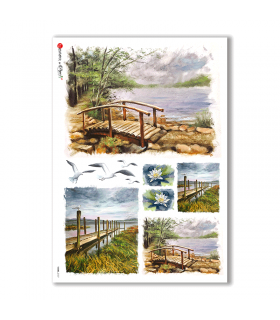 VIEWS-0107. Carta di Riso paesaggi per decoupage