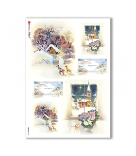 CHRISTMAS-0113. Carta di riso Natale per decoupage.