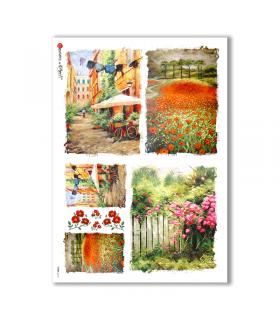 VIEWS-0113. Carta di Riso paesaggi per decoupage