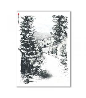 VIEWS-0115. Carta di Riso paesaggi per decoupage