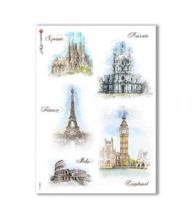 VIEWS-0123. Carta di Riso paesaggi per decoupage
