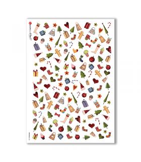 CHRISTMAS-0122. Carta di riso Natale per decoupage.