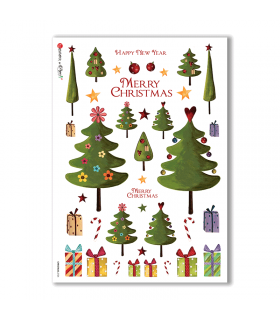 CHRISTMAS-0124. Carta di riso Natale per decoupage.