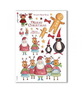CHRISTMAS-0125. Carta di riso Natale per decoupage.