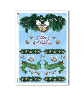 CHRISTMAS-0278. Carta di riso vittoriana Natale per decoupage.