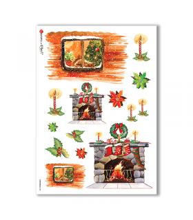 CHRISTMAS-0128. Carta di riso Natale per decoupage.