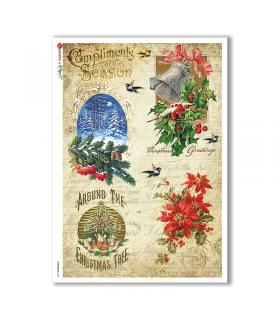 CHRISTMAS-0284. Carta di riso vittoriana Natale per decoupage.
