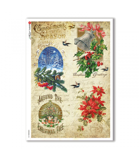 CHRISTMAS-0284. Christmas Rice Paper victorian for decoupage.