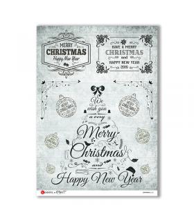 CHRISTMAS-0285. Carta di riso vittoriana Natale per decoupage.