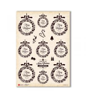 CHRISTMAS-0288. Carta di riso vittoriana Natale per decoupage.