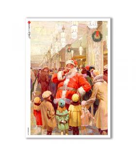 CHRISTMAS-0289. Carta di riso vittoriana Natale per decoupage.